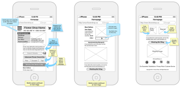 flower store mobile wireframes.